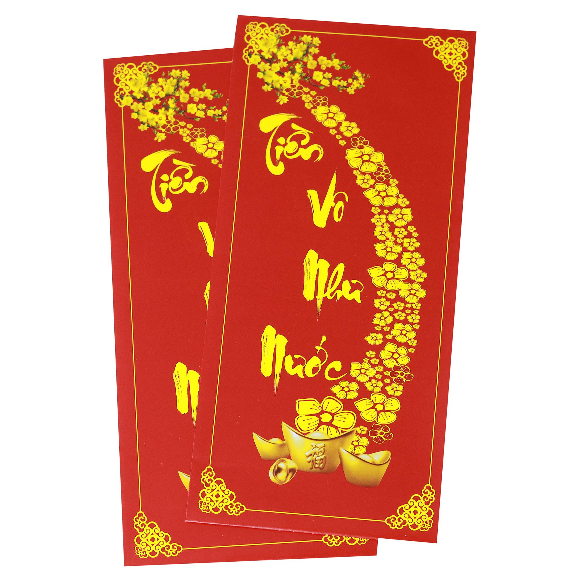 Bao Lì Xì Đỏ Chúc Mừng Năm Mới - Tiền Vô Như Nước (10 Cái)