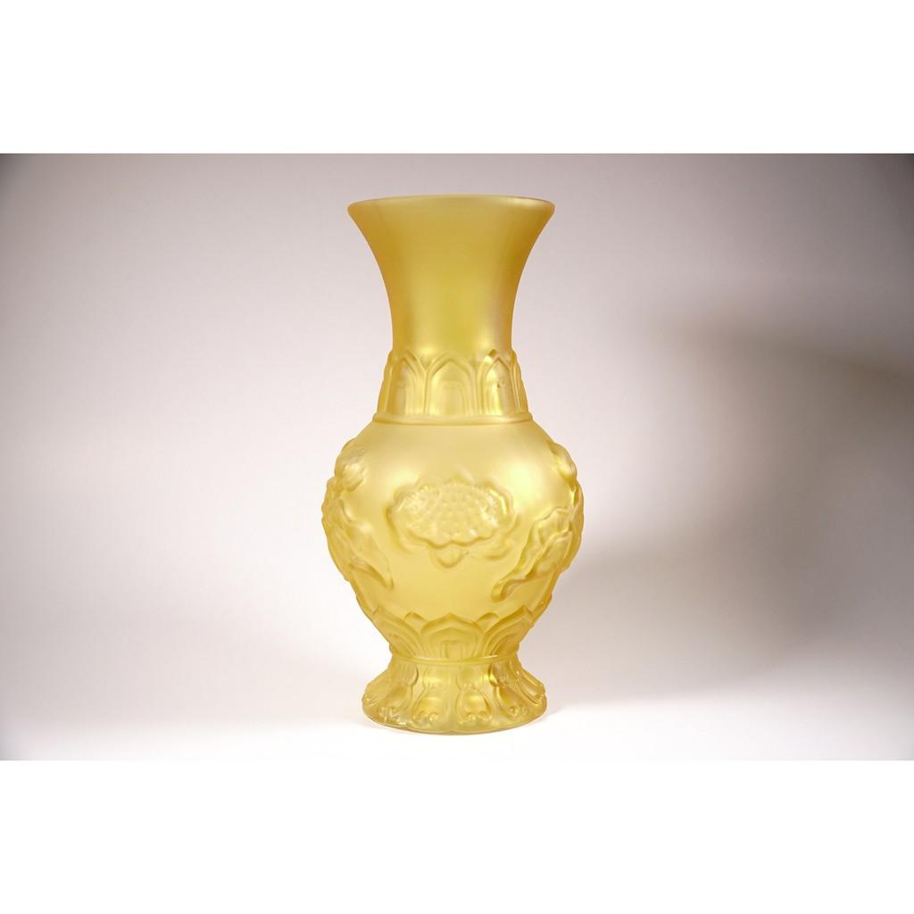 Bình hoa lưu ly vàng mờ sen nổi nguyên khối thờ cúng - Nhiều cỡ