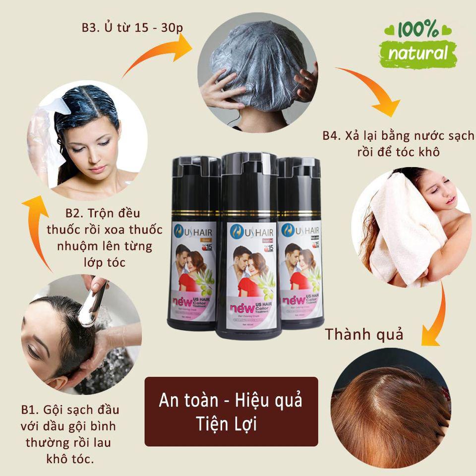 Combo 2 chai Dầu gội nhuộm tóc thảo dược US Hair