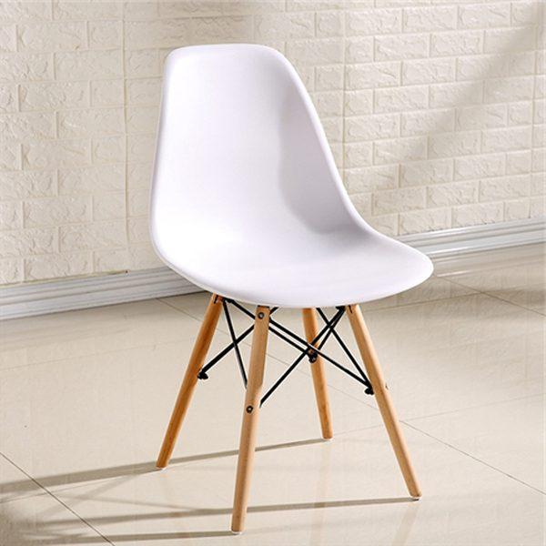 Ghế trắng chân gỗ ( Không đệm )