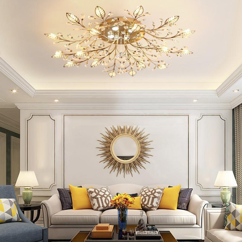 Đèn chùm pha lê ốp trần trang trí nội thất phòng khách cành hình hoa lá sang trọng hiện đại