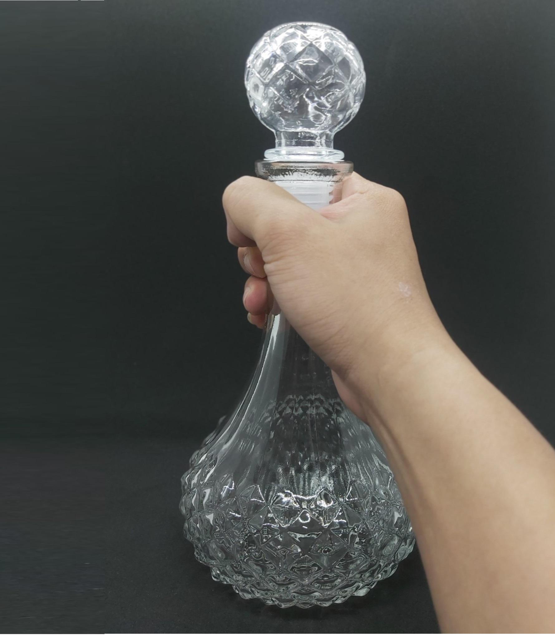 Chai Thủy Tinh đựng Rượu cao cấp Mẫu TRÒN BẸT Giác Kim Cương 750ML - Vỏ Chai rượu 750ml, bình thủy tinh siêu trong suốt