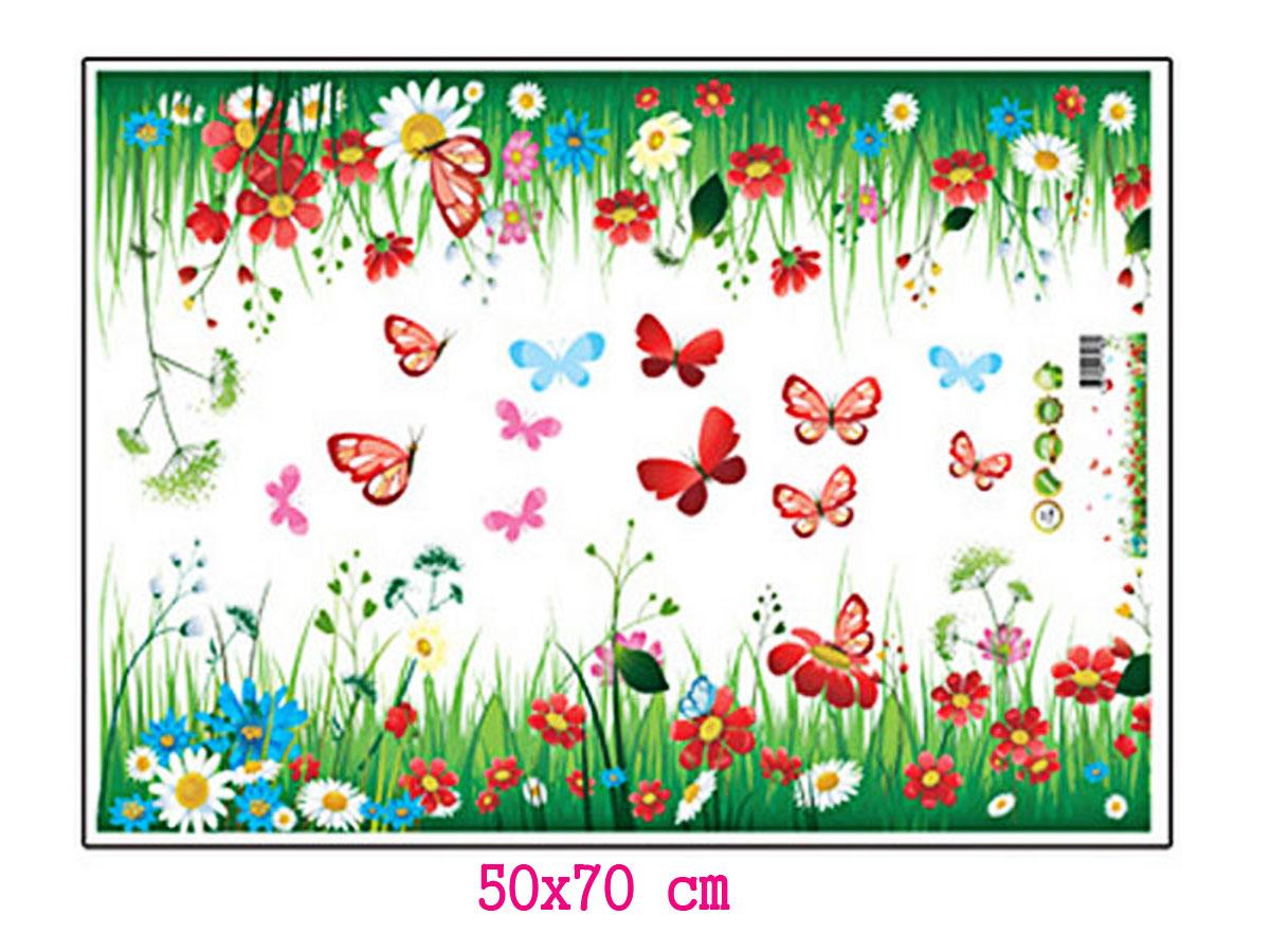 decal dán tường chân rào hoa cúc trắng và hoa đỏ
