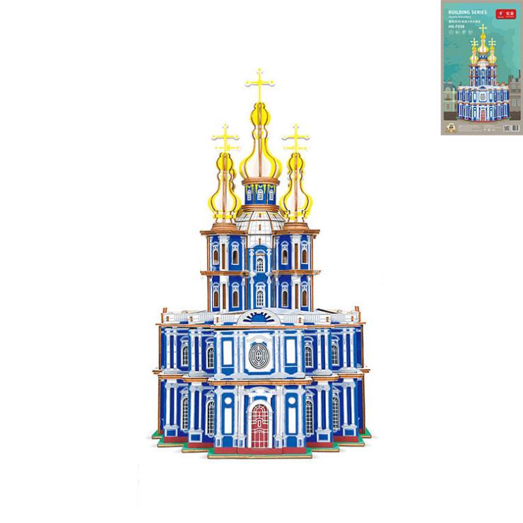 Đồ chơi lắp ráp gỗ 3D Mô hình Nhà thờ Smolnier Monastery Laser HG-F038