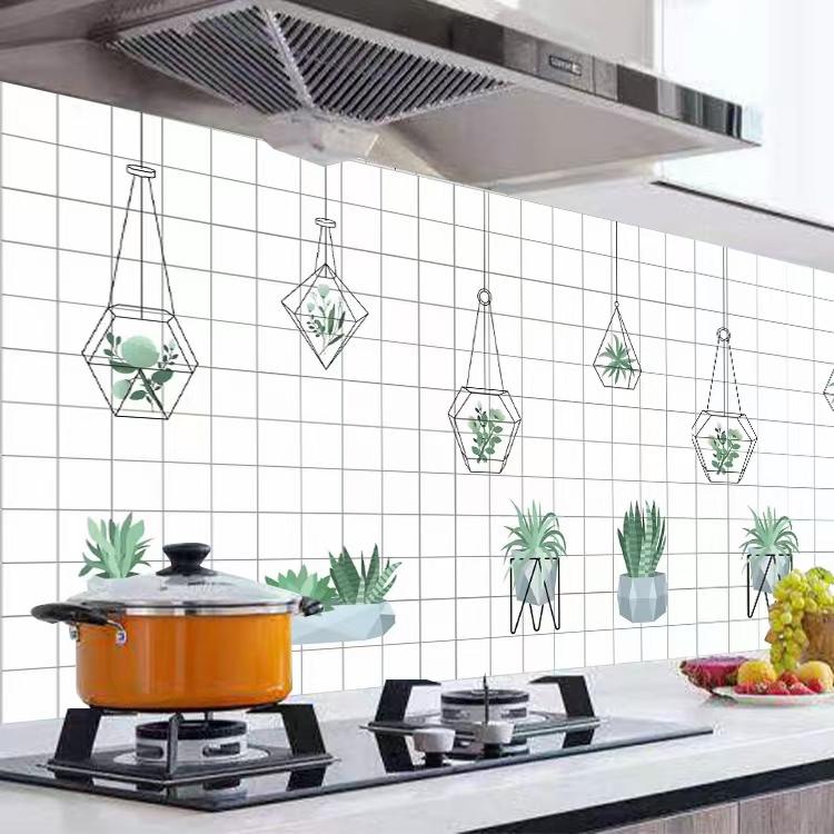 Cuộn 3 MÉT Decal giấy dán bếp tráng nhôm cách nhiệt khổ 60cm MẪU Ô VUÔNG CÂY TREO TRẮNG