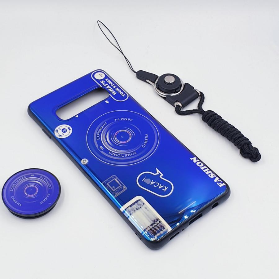 Ốp lưng hình máy ảnh kèm giá đỡ và dây đeo dành cho Samsung Galaxy S7,S7 Edge,S8,S8 Plus,S9,S9 Plus,S10,S10 Plus - Samsung Galaxy S10 - Xanh