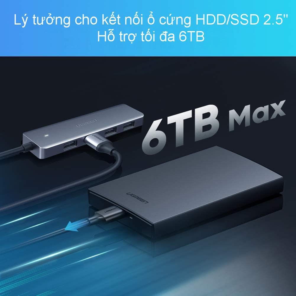 Hub USB type C, USB 3.0 sang 4 cổng USB 3.0 hỗ trợ cổng nguồn Micro USB 5V UGREEN CM219 CM136 - Hàng chính hãng