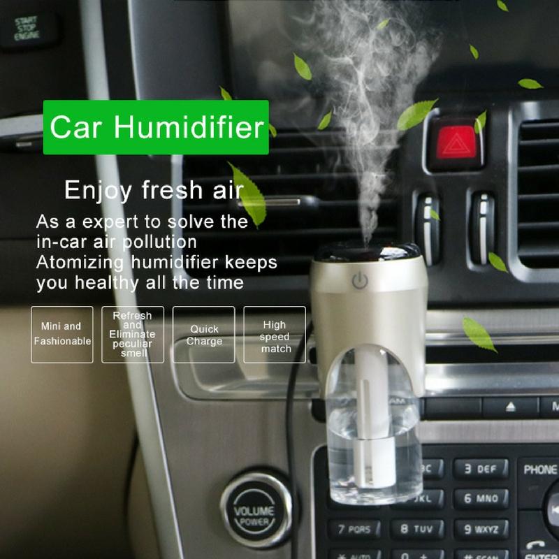 Máy khuếch tán tinh dầu xe hơi tích hợp 2 cổng USB màu trắng đen