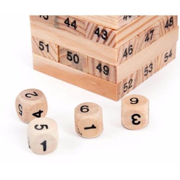 Đồ chơi trẻ em, đồ chơi thông minh, bộ đồ chơi rút gỗ 54 thanh wiss toy gỗ tự nhiên kèm xúc xắc, không độc hại phù hợp với cả trẻ em và người lớn – Tặng Kèm Móc Khóa 4Tech.