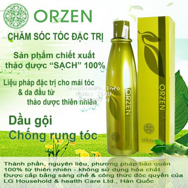 Dầu gội chống rụng tóc Obsidian Professional Orzen Orgahealing Shampoo Hàn Quốc 320ml tặng kèm móc khoá
