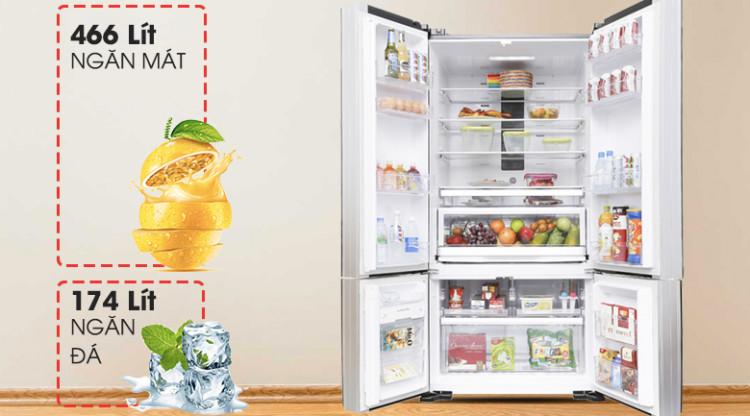 Dung tích lớn - Tủ lạnh Hitachi Inverter 640 lít WB800PGV5 GBK