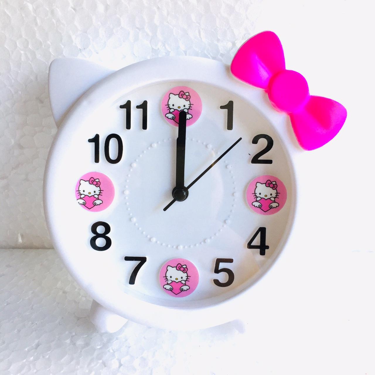 Đồng hồ báo thức để bàn mèo nơ Kitty HX3162 ( trắng) - màu ngẫu nhiên