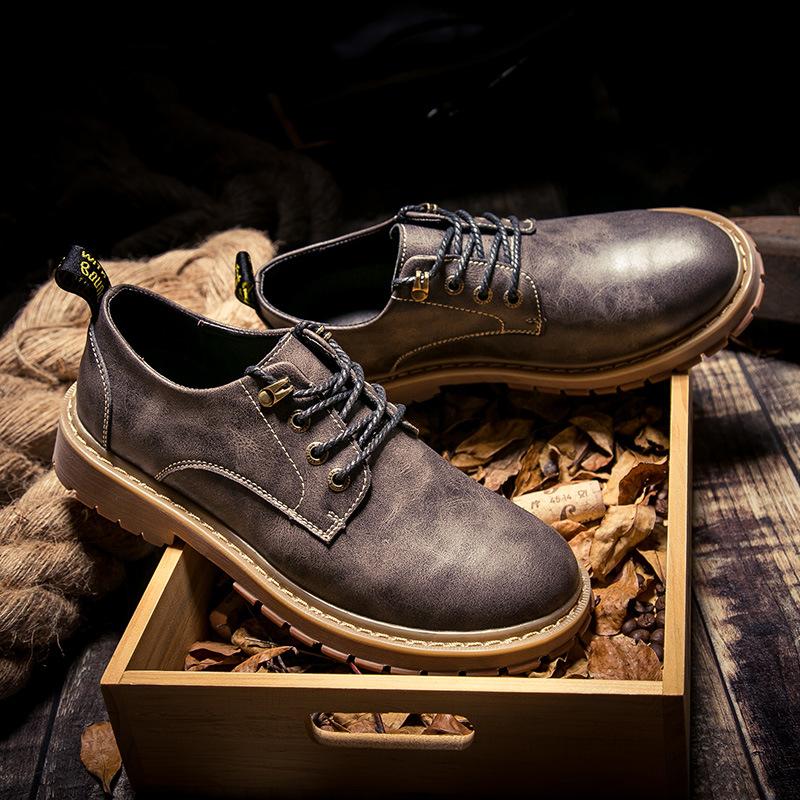 Giày boots (bốt) cổ thấp big size cỡ lớn bằng da cho nam chân to - GT082