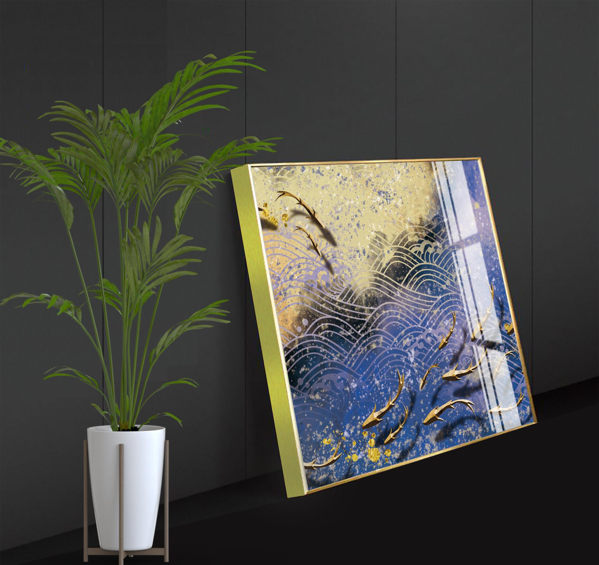 Tranh phong thuỷ Mica 3 bức Đàn cá Koi trừu tượng (Thiên Hà Thủy). Model: AZ3-0113. Khung nhôm hoặc Composite. Hình ảnh sắc nét, sang trọng, phù hợp nhiều không trang trí