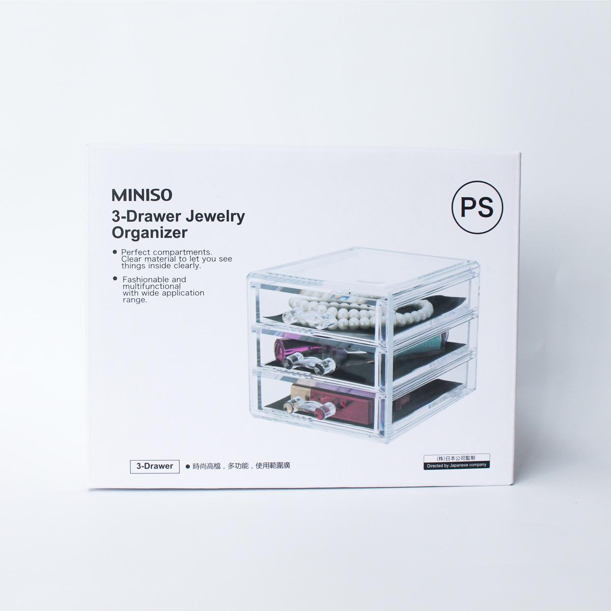 Khay đựng mỹ phẩm đồ trang điểm trang sức đa năng bằng mica 3 tầng MINISO 3-DRAWER JEWELRY ORGANIZER tiện lợi, chính hãng - MNS056