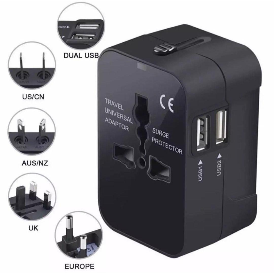 Ổ Cắm Điện Loại Chuyển Đổi Đa Năng - Phích Cắm Tiêu Chuẩn US, EURO, UK, AUST - Có 2 Cổng USB (Dual USB) - Phù Hợp Cho Những Chuyến Công Tác Và Du Lịch Nước Ngoài