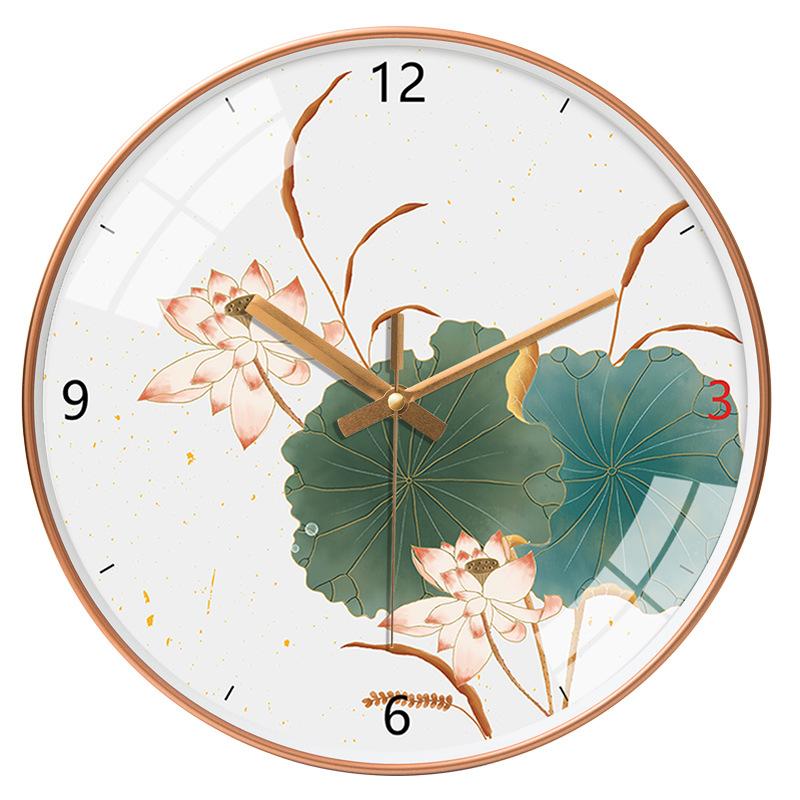 Đồng hồ treo tường tròn nền xám hoa sen 30cm