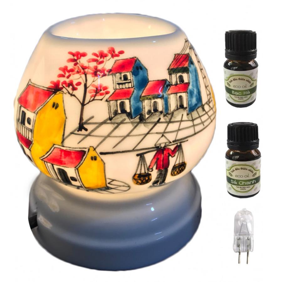 Combo 2 chai tinh dầu (Bạc hà và sả chanh) Eco 10ml  và đèn xông tinh dầu tam giác TG08 và 1 bóng đèn
