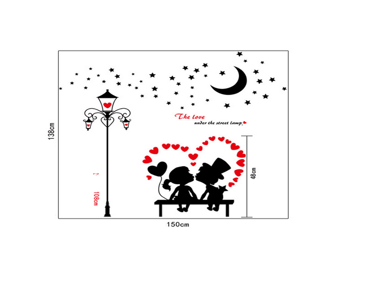 decal dán tường hai bé hôn nhau và cột đèn đen