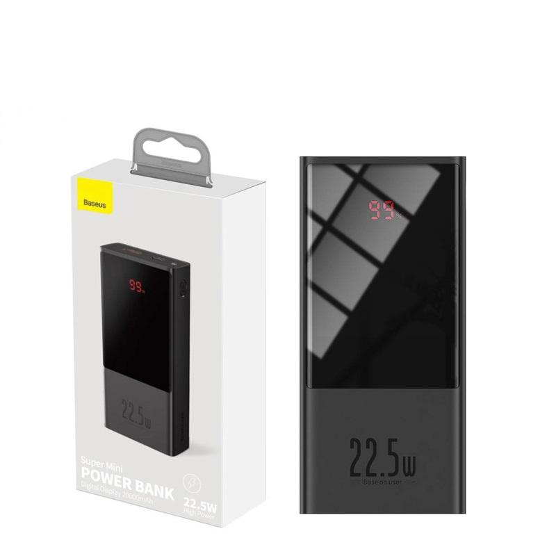 Pin dự phòng Baseus PPMI02 super mini 20000mAh hỗ trợ nhanh 22.5W - tích hợp PD/QC3.0/2.0 (đen) HÀNG CHÍNH HÃNG