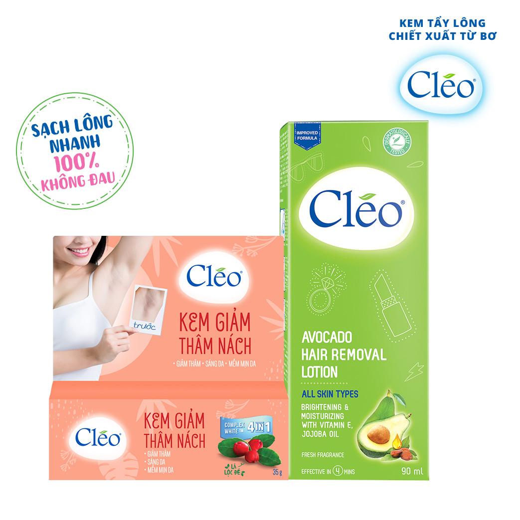 Bộ Đôi Kem hỗ trợ điều trị Thâm Nách Cléo 35g và Lotion Tẩy lông Cléo 90ml