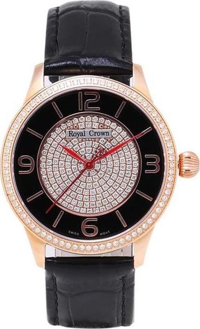 Đồng hồ nữ chính hãng Royal Crown 6118M dây da đen vỏ vàng hồng