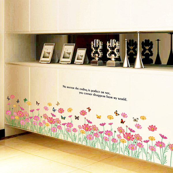 Decal Dán Tường Chân Tường Hoa Cúc Binbin CT03 (160 x 45 cm)