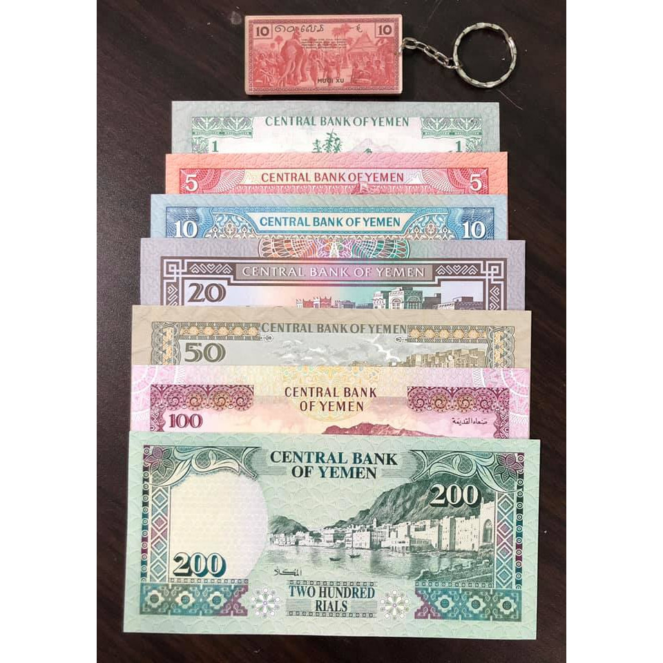 Bộ tiền cổ thế giới Yemen 7 tờ (kèm móc chìa khóa hình tiền xưa lạ mắt)