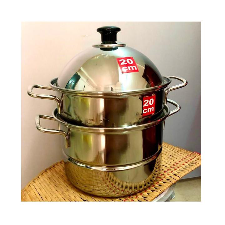 Bộ NỒI xửng hấp INOX 2 TẦNG CAO CẤP. Có thể hấp 2 món và NẤU CANH sử dụng ĐA NĂNG. Dụng cụ nhà bếp HIỆN ĐẠI CHUYÊN NGHIỆP phù hợp mọi GIA ĐÌNH hàng quán