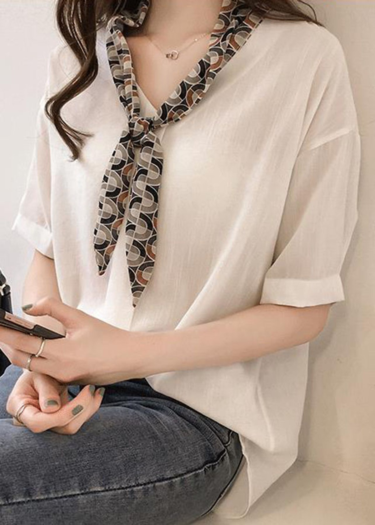 Áo kiểu nữ vai trễ phối cổ nơ ArcticHunter, thời trang trẻ, phong cách Hàn Quốc