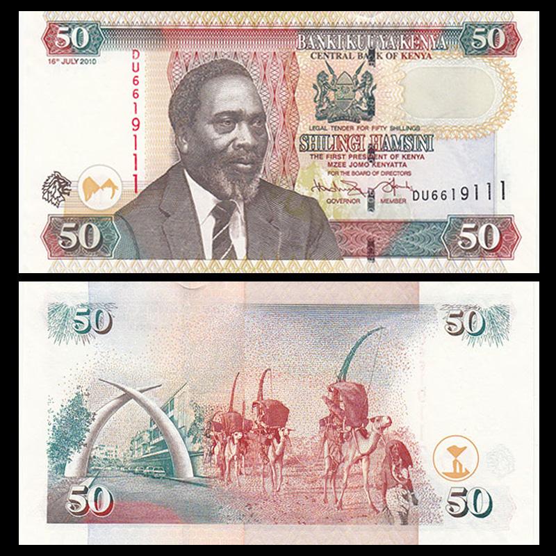 Tiền Kenya 50 Shilling xưa , hình lạc đà , mới 100%