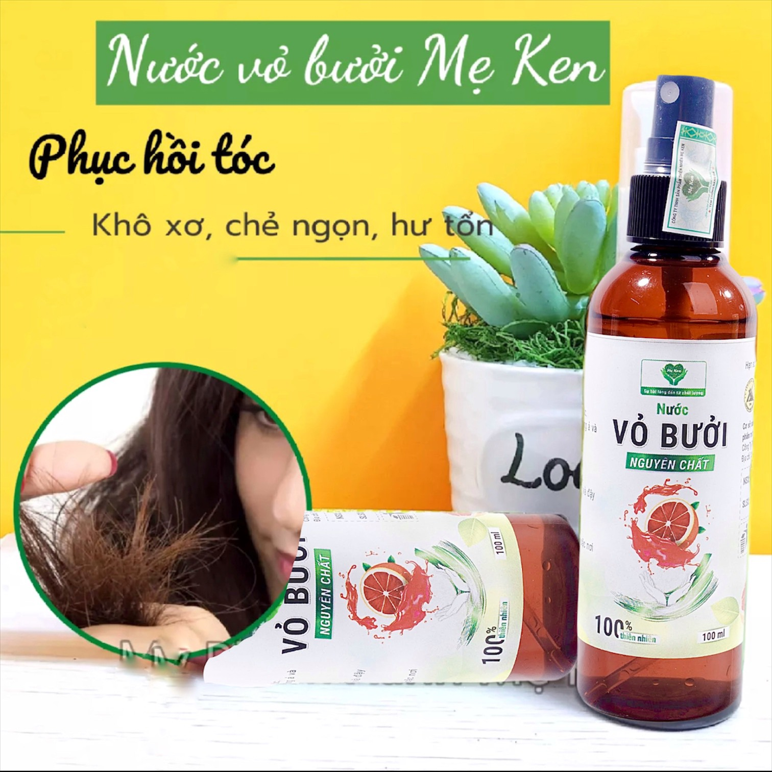 Tinh dầu nước xịt vỏ bưởi nguyên chất MẸ KEN 100ml -Tặng kèm khăn mặt - loại nước xịt vỏ bưởi dưỡng tóc