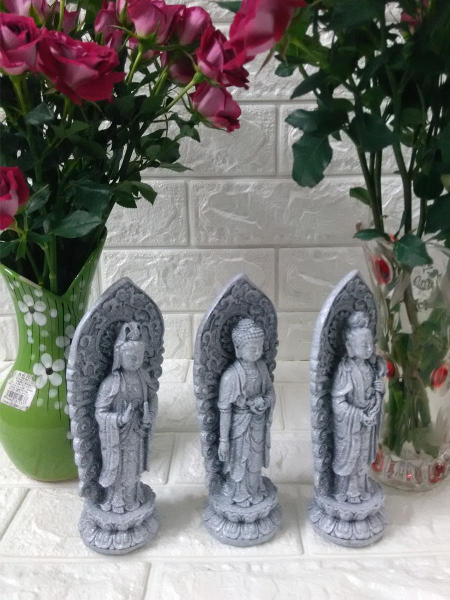 Bộ tượng Tam thế Phật đá non nước cao 18cm