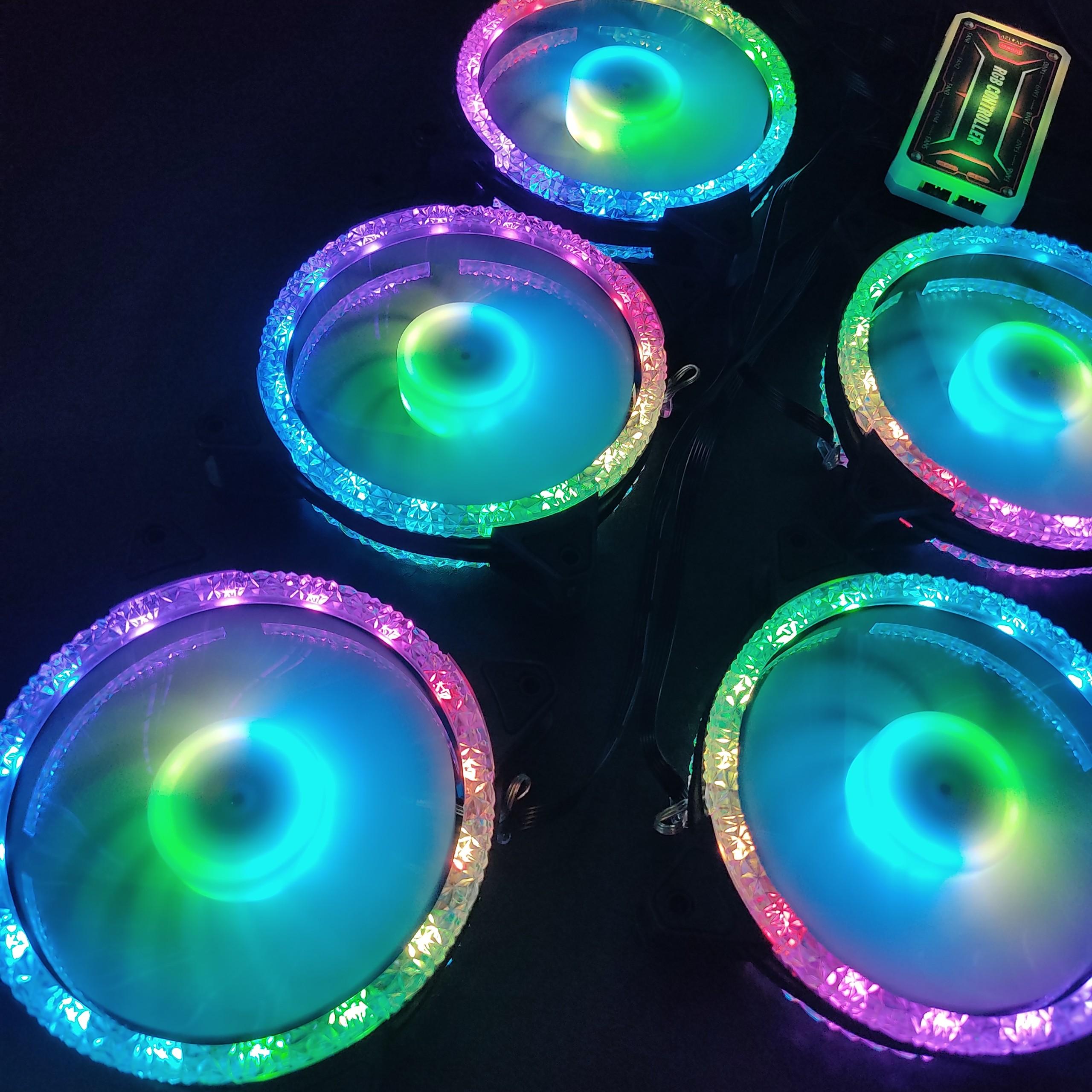 5 Quạt Tản Nhiệt, Fan Case KNC Diamond V2 Led RGB Dual Ring, kèm theo bộ Hub RGB điều khiển màu từ xa