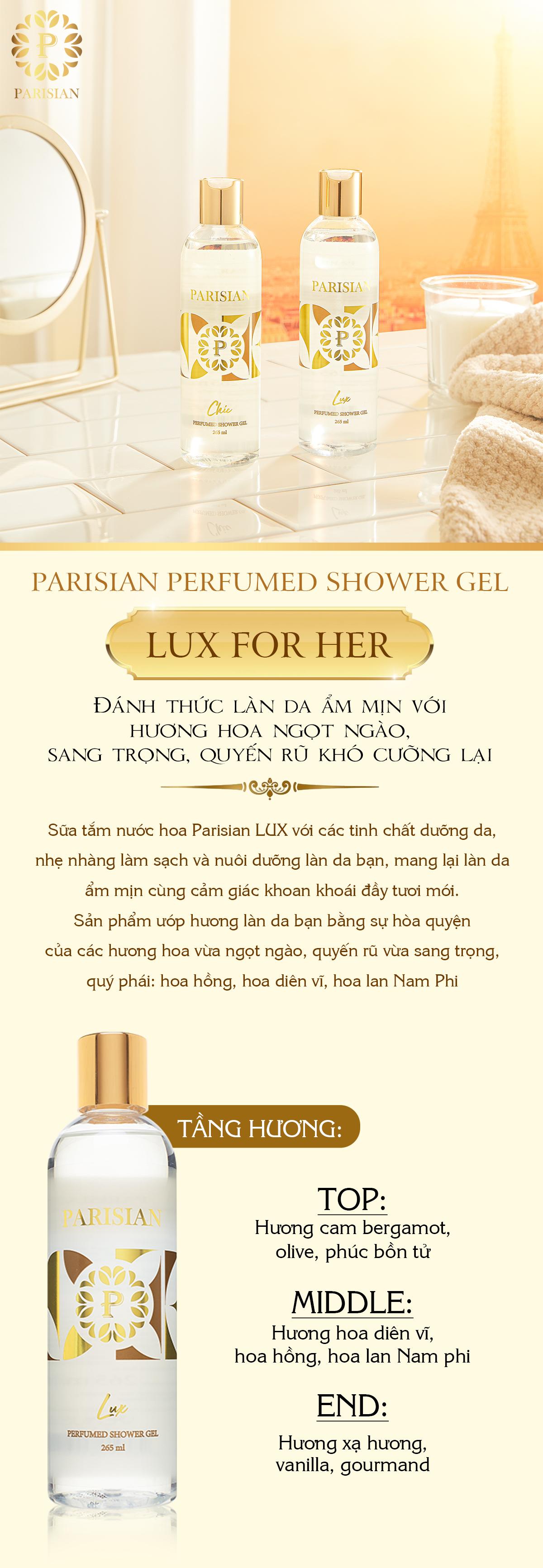 Sữa Tắm Nước Hoa Parisian - Lux for Her (265ml)