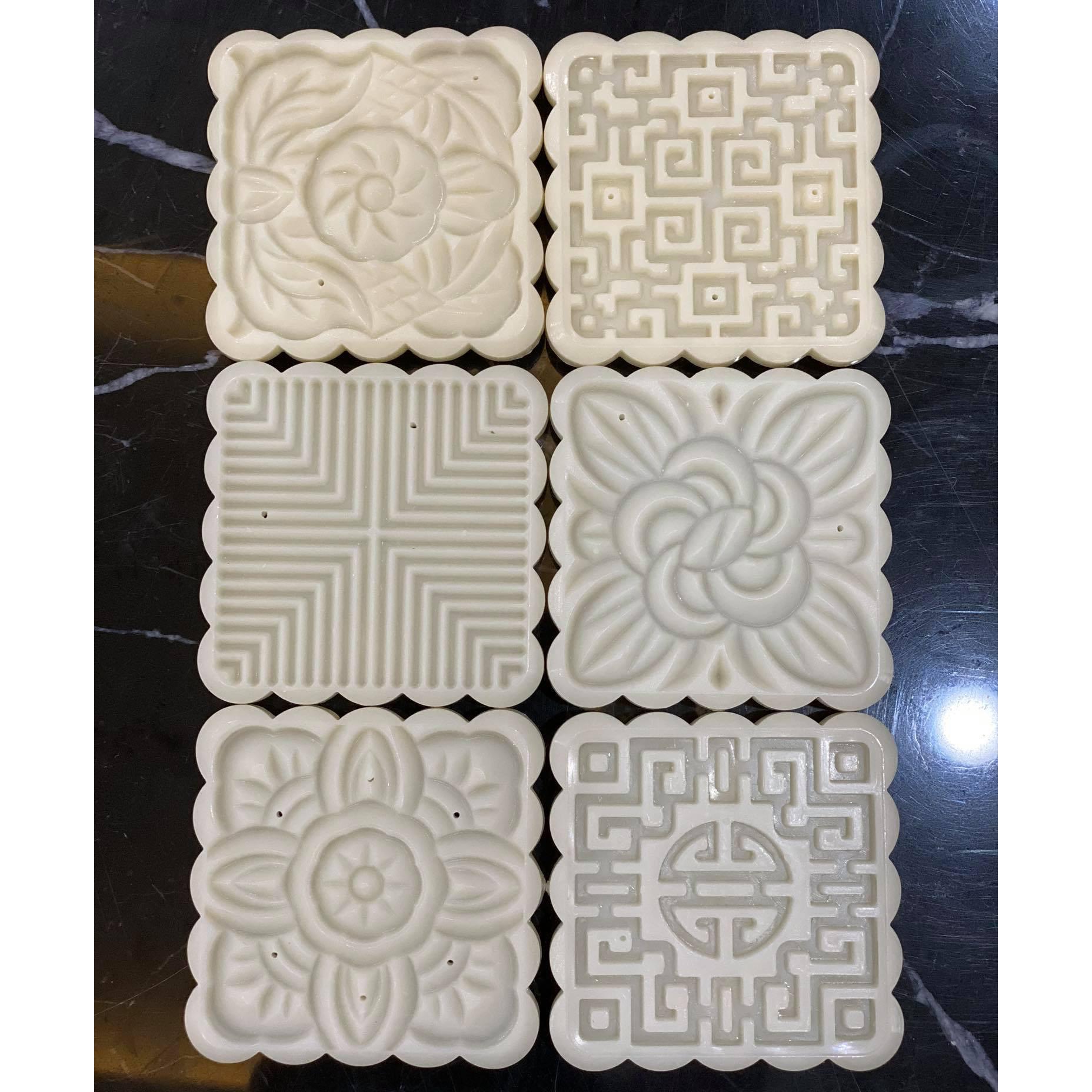 Khuôn bánh trung thu lò xo mặt vuông, 6 kiểu hoa văn - 100gr