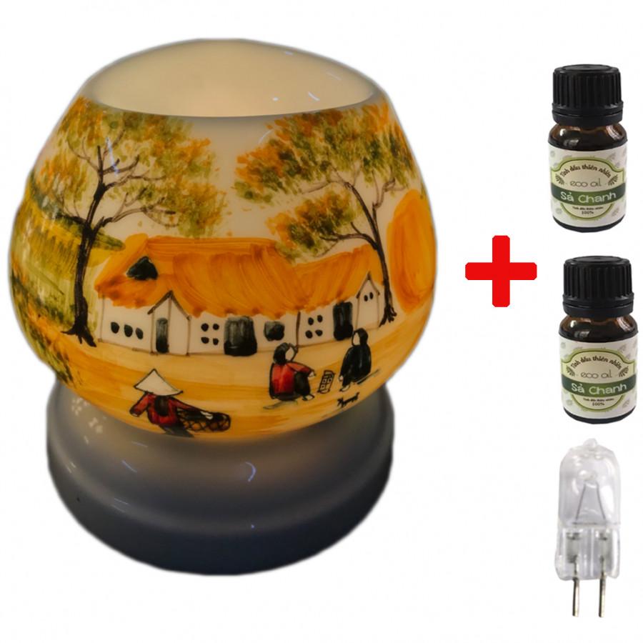 Combo Đèn xông tinh dầu tam giác TG7 và 2 chai sả chanh Eco oil 10ml và 1 bóng đèn