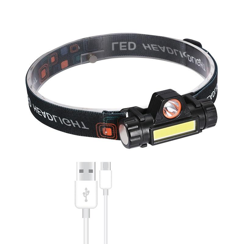 Đèn Pin Đội Đầu 2 Bóng LED Siêu Sáng Q5 cổng sạc USB