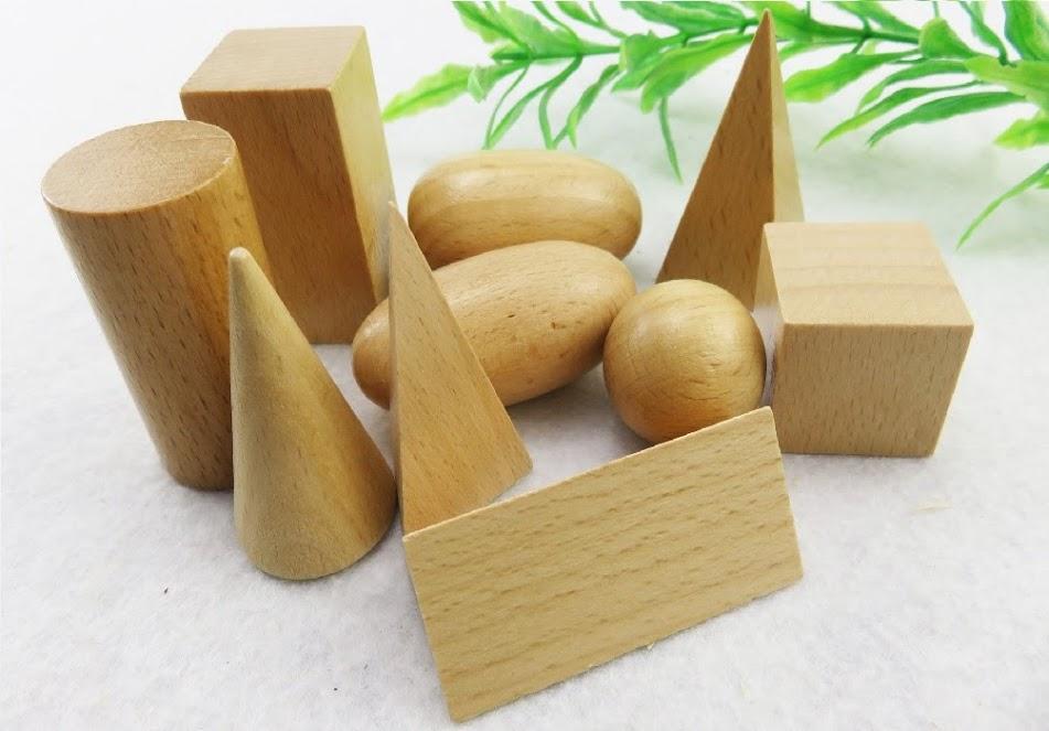 Bộ 10 khối hình học giáo cụ montessori