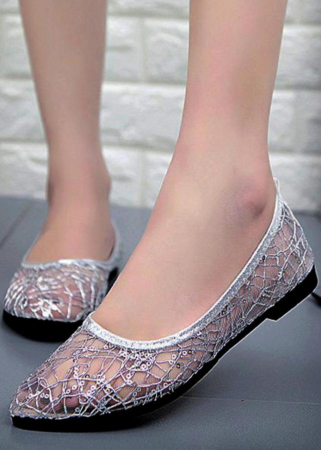 Giày búp bê lưới cao su thoáng mát siêu bền-305 Trắng