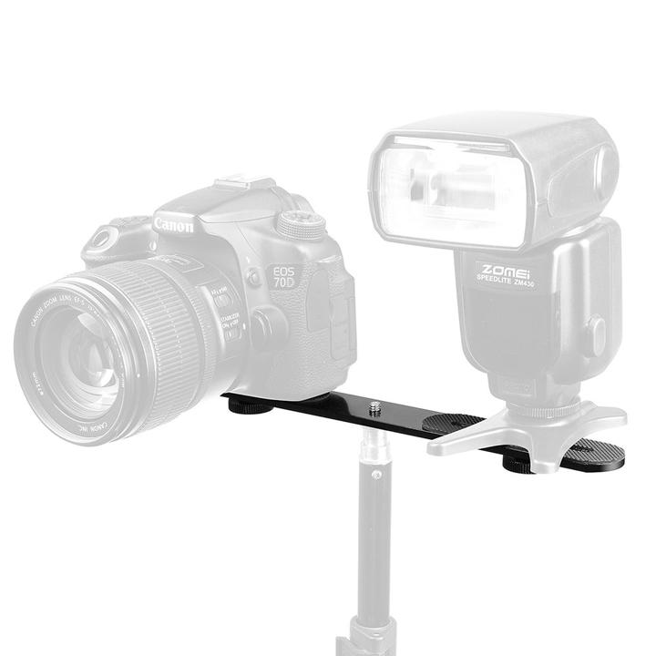 Bracket đôi đèn Led Microphone ốc 1/4 tripod dài 27cm