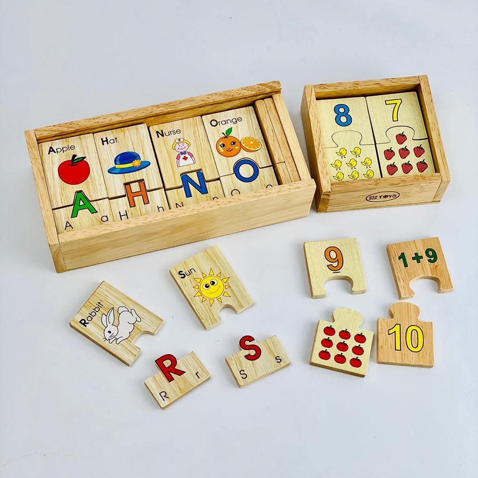 Combo đồ chơi trí tuệ Mk gồm : bộ tìm chữ Tiếng Anh và bộ học số - đồ chơi gỗ
