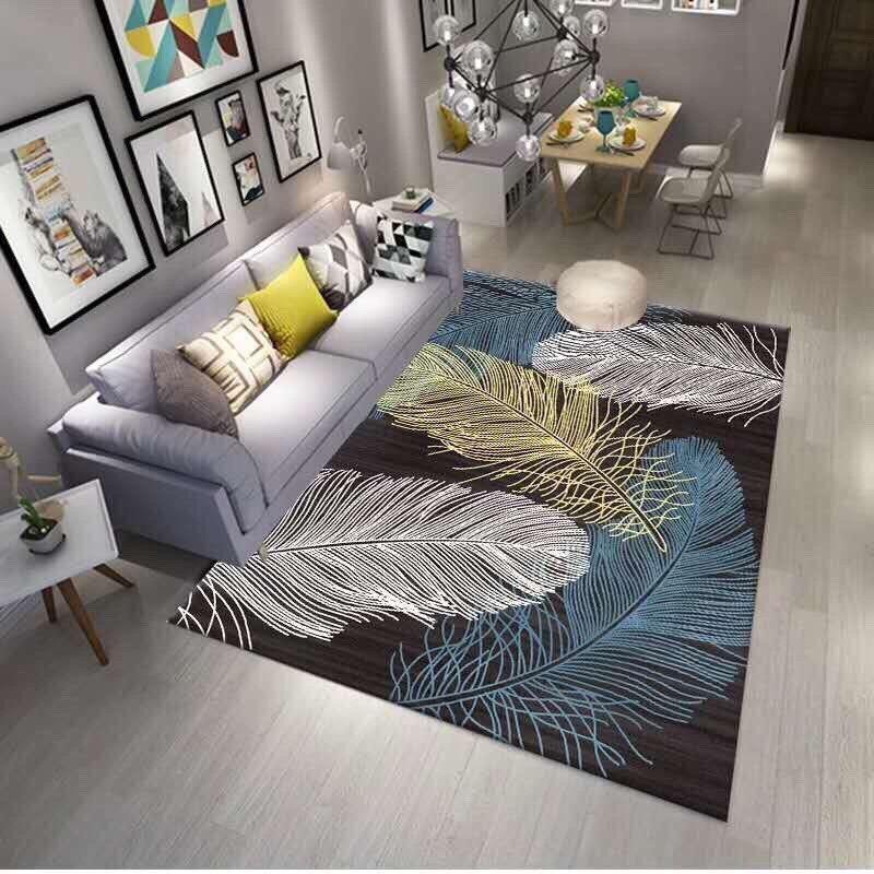Thảm bali trải sàn phòng khách loại 1m6 x 2m3 mẫu lông vũ xanh