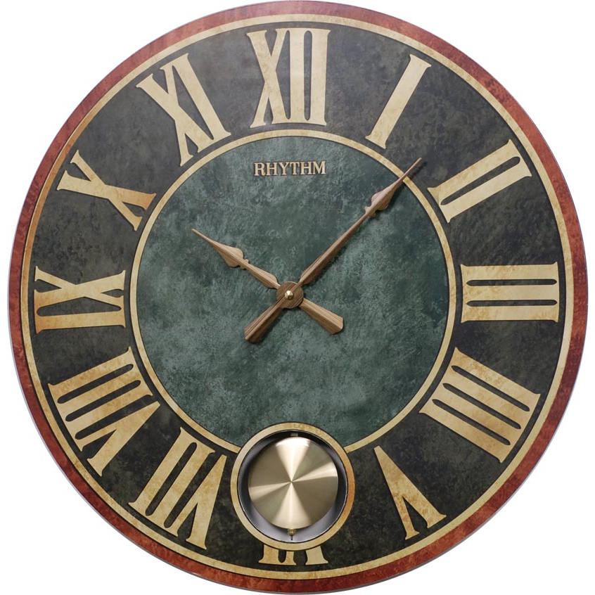 Đồng hồ treo tường RHYTHM WOODEN WALL CLOCKS  CMP543NR02 ( Kích thước 56.0 x 4.5cm), Vỏ màu Đen