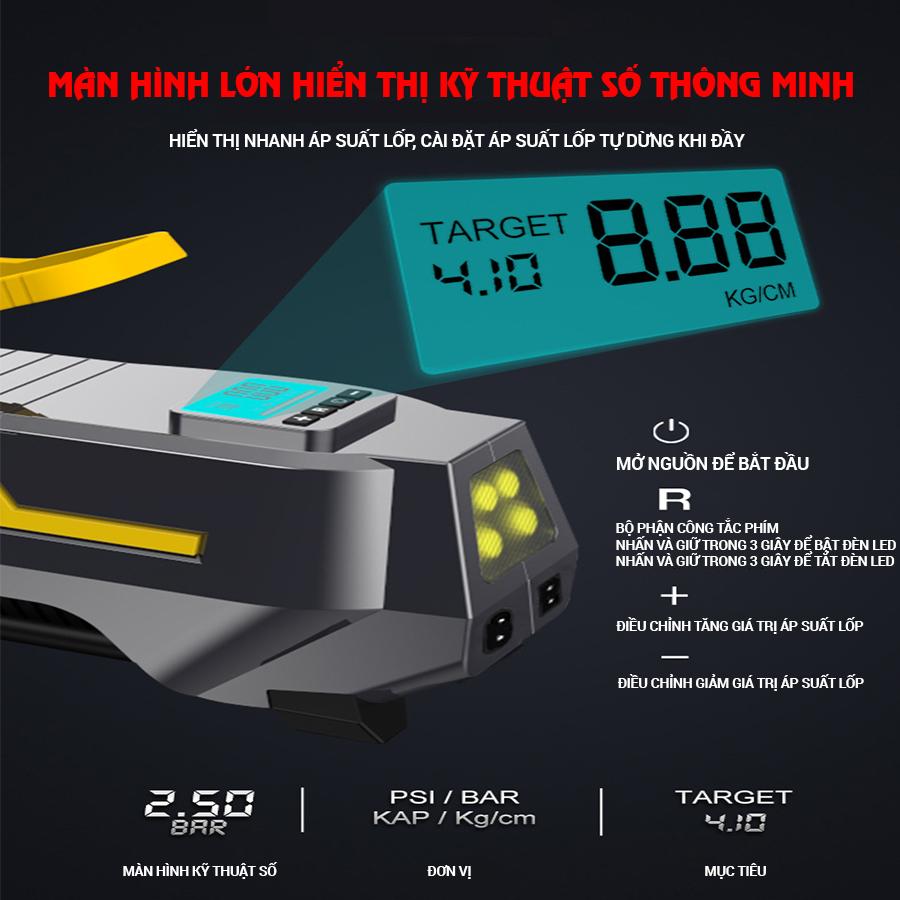 Máy bơm hơi ô tô xe hơi màn điện tử thông minh tự ngắt cao cấp CAR365 CHÍNH HÃNG - CAR32