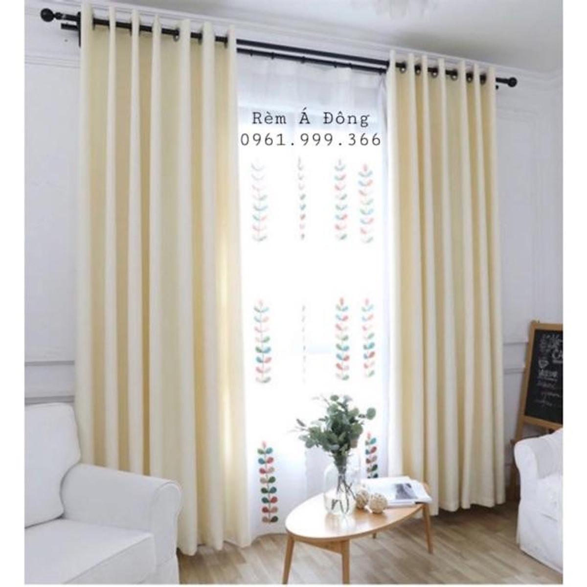 Rèm vải thô màu kem sáng nhẹ nhàng, rèm cửa trang trí phòng khách, phòng ngủ - Cao cố định 3.0m