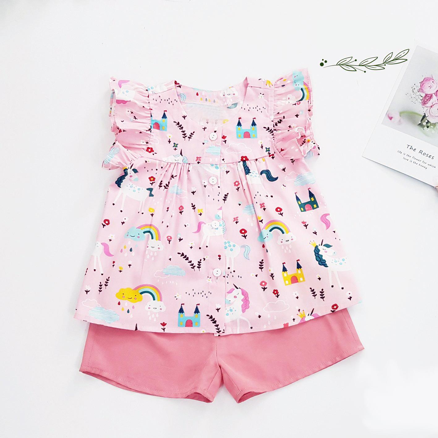 Đồ bộ cho bé gái áo hồng Pony ngựa cầu vồng quần hồng set trang phục bé gái từ 1-10 tuổi (8-36kg)