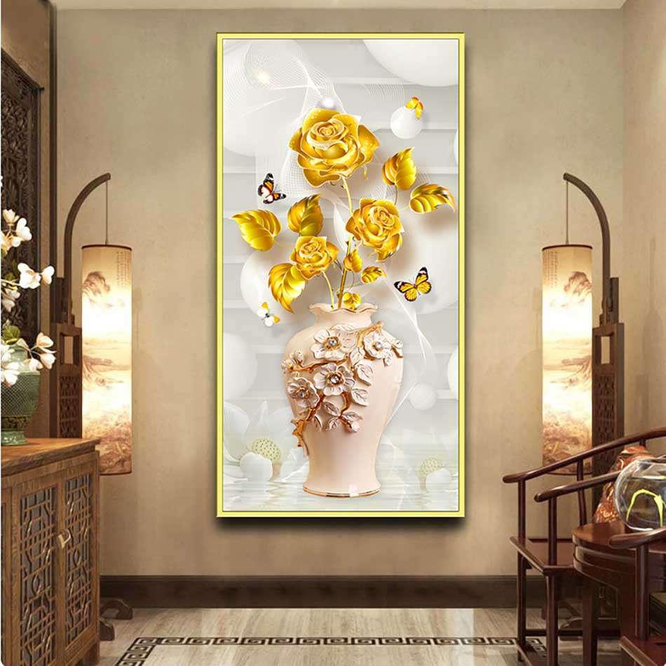 Tranh đơn canvas treo tường Decor Họa tiết hoa hồng vàng sang trọng, hiện đại - DC189