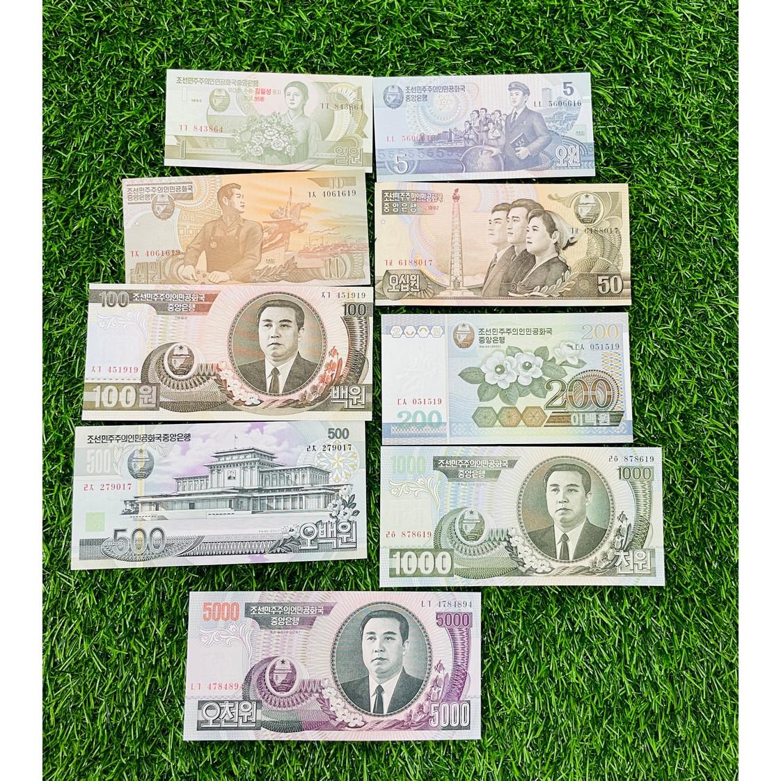 Bộ tiền Bắc Triền Tiên xưa năm 1992, gồm 9 tờ từ 1 - 5000 Won, mới 100% UNC, tặng túi nilon bảo quản