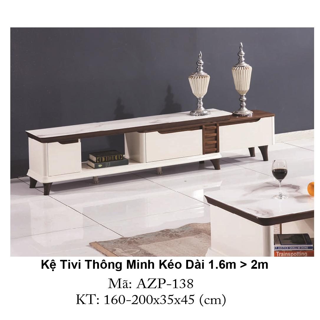 Kệ Tivi Mặt Kính Thông Minh Kéo Dài AZP-TV138 / Dòng Cao Cấp
